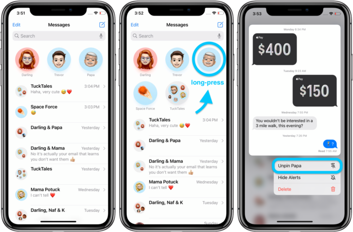 Pin Messages in iOS 14